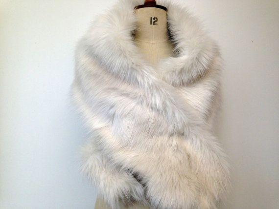 Ivory Fur Stole Wedding Stole Ivory Faux Fur by CardamomClothing