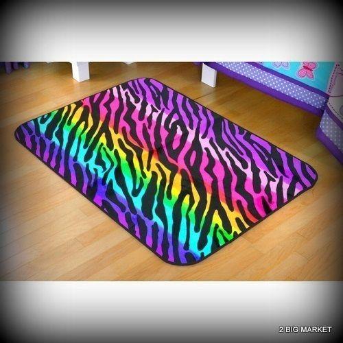 Mink Rectangular Rug Colorful Zebra Decorative Soft Rainbow Faux Multi Color  #YourZone