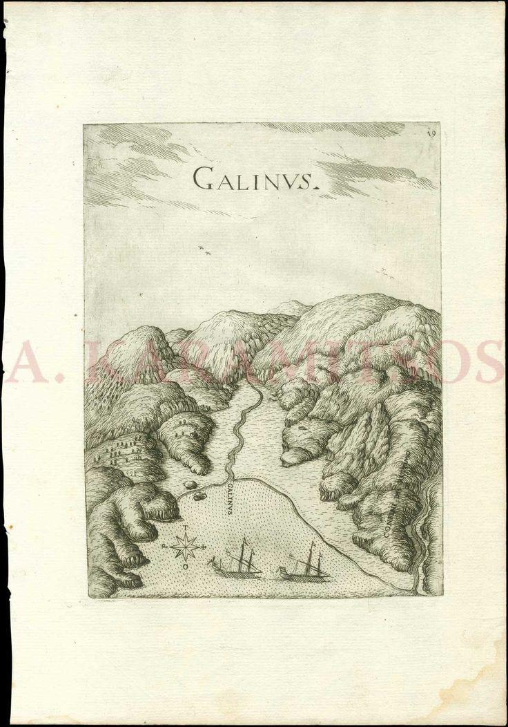 """BOSCHINI Marco, """"GALINVS"""" from """"Il Regno tutto di Candia..."""" 1651. Bird-eye view of Agia Galini, Rethimno. Crete"""