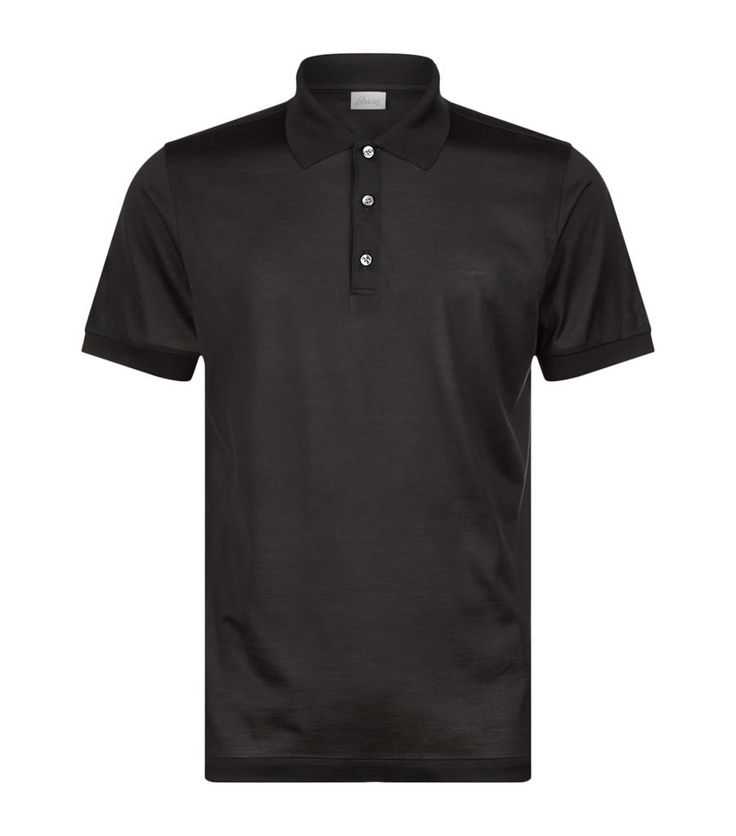 Brioni Silk Polo Shirt Black | Harrods
