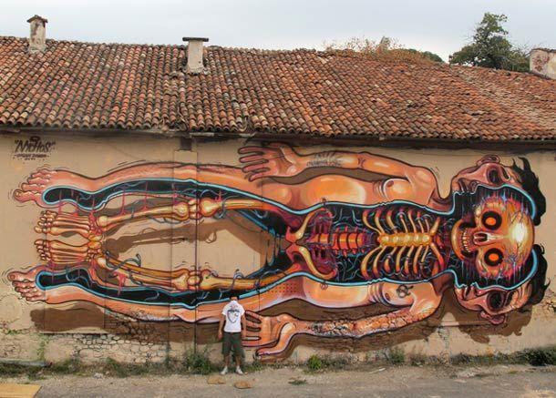 Street art by Nychos   Anatomic illustration