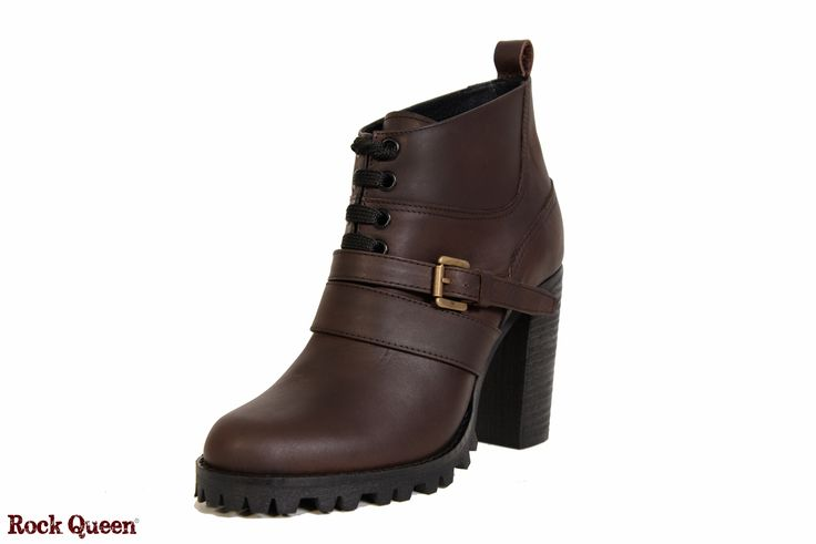 www.rockqueen.shoes https://www.facebook.com/rqshoes #RQ_014  #Rock_Queen #rock #queen #star #shoes #handmade #handcraft #greece #ankle #boots #leather #quality #brown #heel #woman #fashion #collection #metal #rabber #truck #truck_sole