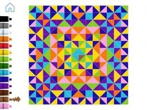 """ZEN STUDIO """"Zen studio propose aux enfants de créer des tableaux visuels à partir de gommettes triangulaires.La création est accompagnée d'une musique générative, une trame musicale déclenchée par le rythme des mouvements du joueur."""""""