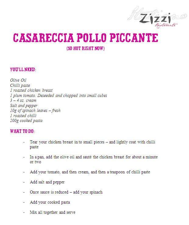 Recreate Zizzi's casareccia pollo piccante!