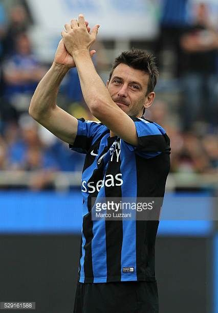 Gianpaolo Bellini of Atalanta BC salutes the fans for its last game of his career in Bergamo at the end of the Serie A match between Atalanta BC and...