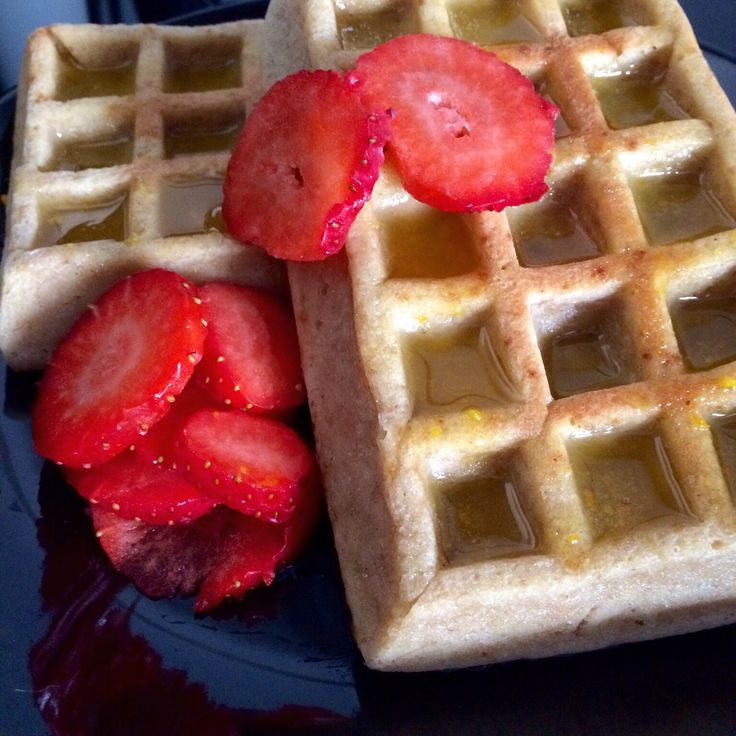 Almond flour and yogurt healthy baked waffles with orange syrup