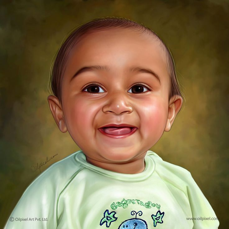 Digital painting of baby boy created by Oilpixel. Contact us to make such portrait painting for your kids & memorialize his childhood moment for years to come. #kid #painting