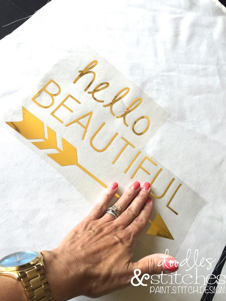"""Gold Iron-On Vinyl using Silhouette Cameo I have been wanting to try out this gold iron-on vinyl for months but to be honest, I was a little intimidated. In the past, I have had my fair share of """"iron-on"""" FAILURES, using my ink jet printer and t-shirts. Still, I decided to give it a try. …"""
