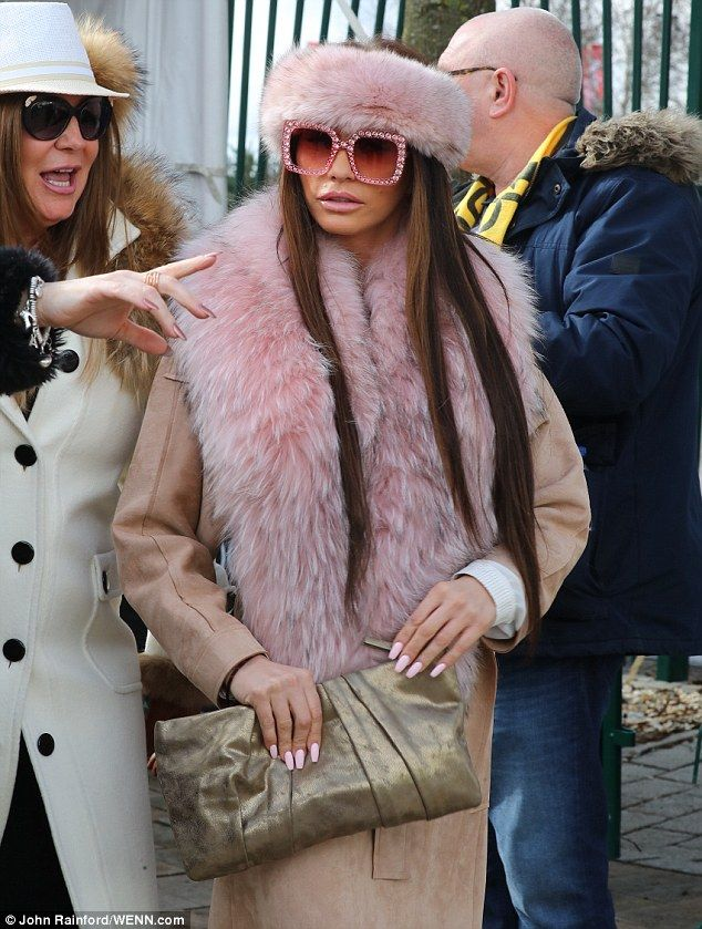 Katie Price Sports Pink Fur Stole And Diamante Shades At