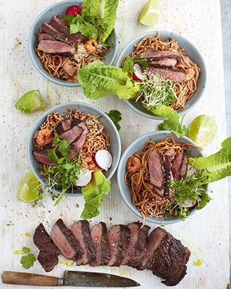 sizzling beef steak, hoi sin prawn & noodle bowls