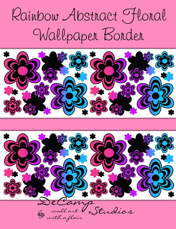 Rainbow Floral Abstract Wallpaper Border Wall Art Decals