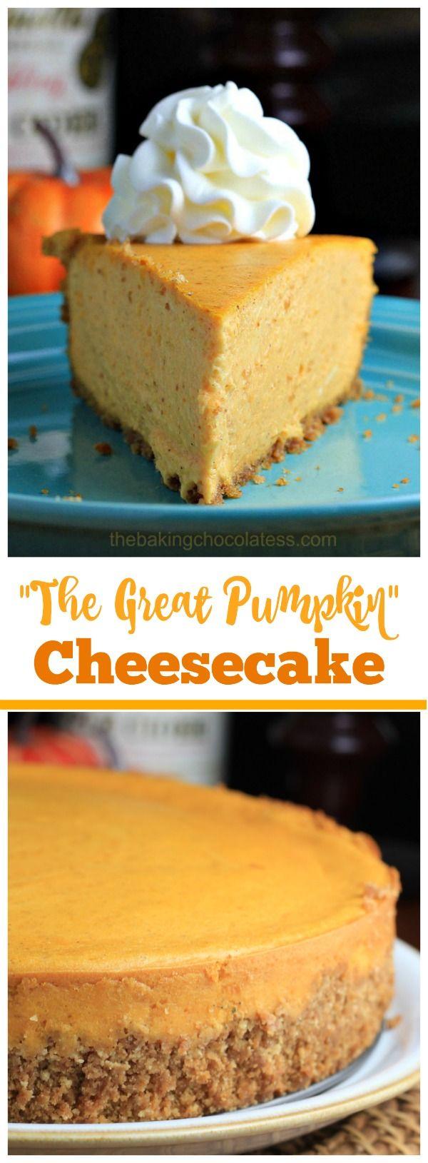 """The Great Pumpkin"" Cheesecake via @https://www.pinterest.com/BaknChocolaTess/"