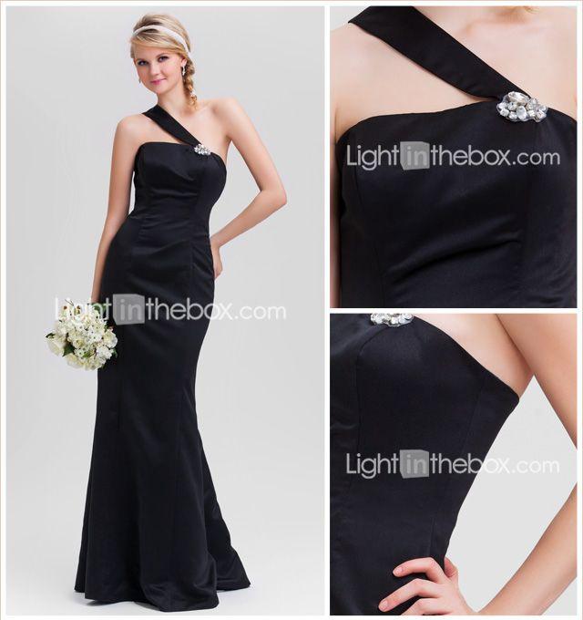trompete / sereia um ombro assoalho-comprimento de cetim vestido de dama de honra - BRL R$ 239,01