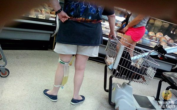 Oh, the People of Walmart. . . pee bag strapped to leg in the Deli Department. . . Yum!