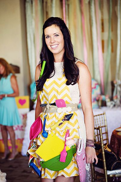 In this classic game, kitchen tools are pinned to an apron that the bride-to-be must wear for one quick walk around the room. Afterwards, have her take it off and ask guests to jot down all of the items that were on it.Photo Credit: Weddings by Scott and Dana