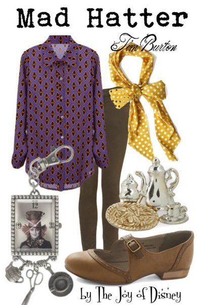 Shirt, $32.01  ;  Jeans, $76  ;  Shoes, $45.99  ;  Scarf, $7.99  ;  Tea Pin, $11.99  ;  Keychain, $24.99 Outfit inspired by the Mad Hatter from the Tim Burton version of Alice in Wonderland!