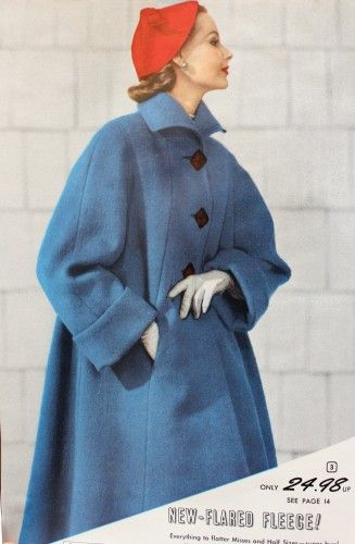"1954 Blue Fleece Coat after the war we saw a boom in births so coats that were swing style were very roomy  and worked well for women who were pregnant. This was one more step a woman could take to be out in public without ""showing"" too much Full coats had wide sleeves, a triangular shape, large cuffs and collars and usually large buttons too"