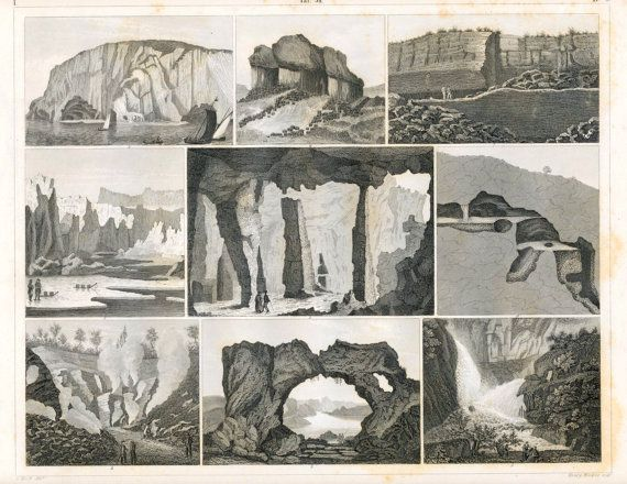 """1860 antique steel engraving of icebergs, caves, lava arches, burning mountains. I can wander forever looking at antique lithographs and book plates..."" - Sarah #SarahEdmonds #Banquet"