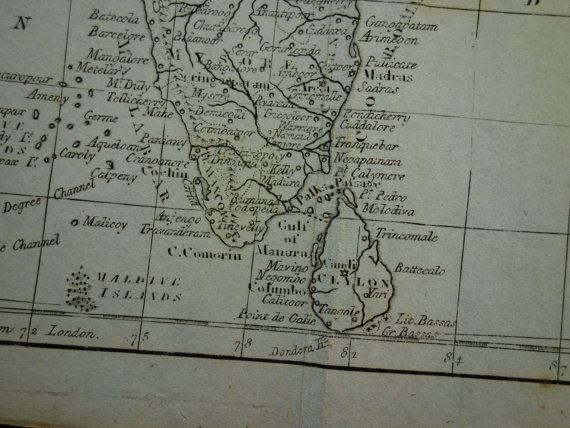 INDIA vintage map 1807 original 200 years old by DecorativePrints