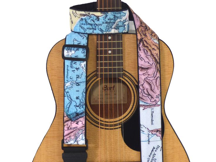 Map Guitar Strap. North America, Europe, Asia Map Guitar Strap for all Types of Guitars. Soft, Comfy, Adjustable, Padded. Guitar Accessories. 00314