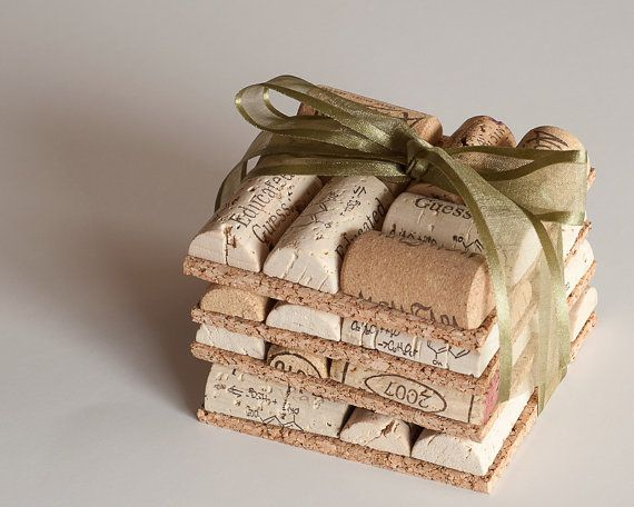 Wine Cork Coasters Set of 4 Wine Cork Crafts, Wedding Favors, Wine Party, Eco Friendly