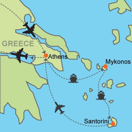 Athens - Mykonos - Santorini- Customizable Itinerary $1,400