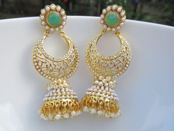 Chandbali Pearl Jhumkas Unique Earrings Long Jhumkas by Alankaar