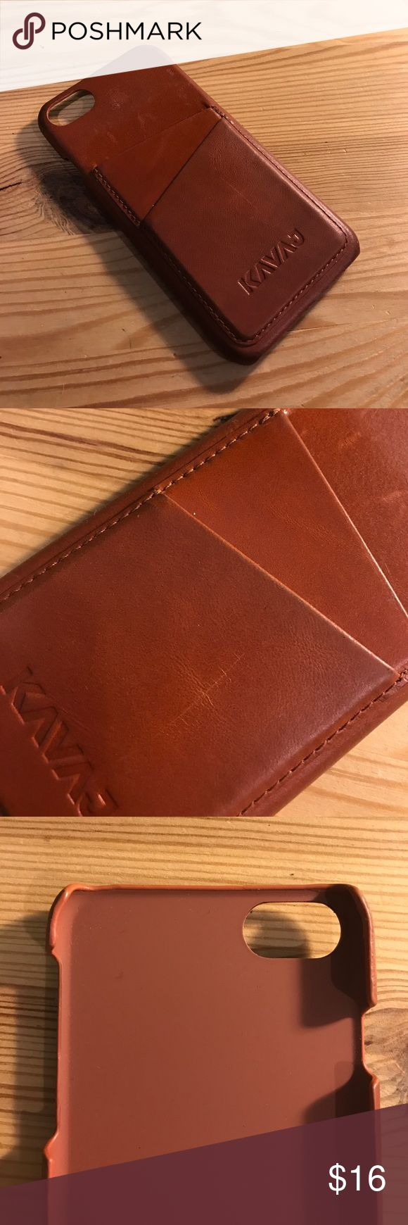 iPhone 7 leather case Hey guys, up for sale is a KavaJ iPhone 7 leather case. The case can hold up to 3 or 4 cards in the back two slots KAVAJ Accessories Phone Cases