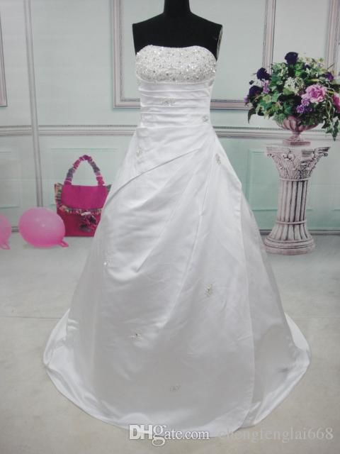 Vestidos De Noiva Princesa In Stock White/Ivory Elegant Satin A Line Wedding Dress Beading Sequined Bridal Gown Robe De Mariage Wedding Dresses Las Vegas Wedding Dresses Online Shop From Chengfenglai668, $129.65| Dhgate.Com