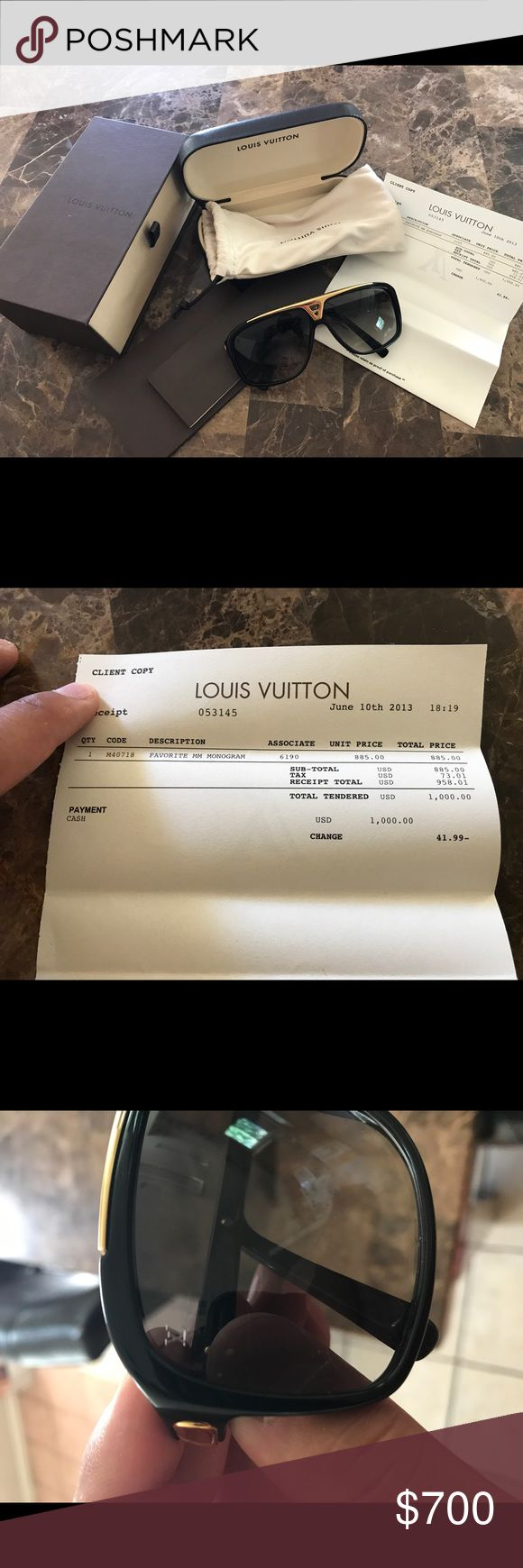 Louis Vuitton evidence sunglasses Worn 2-3 times. Don't have any use for them. They're practically brand new. I have receipts and all boxes for the sunglasses. Louis Vuitton Accessories Sunglasses