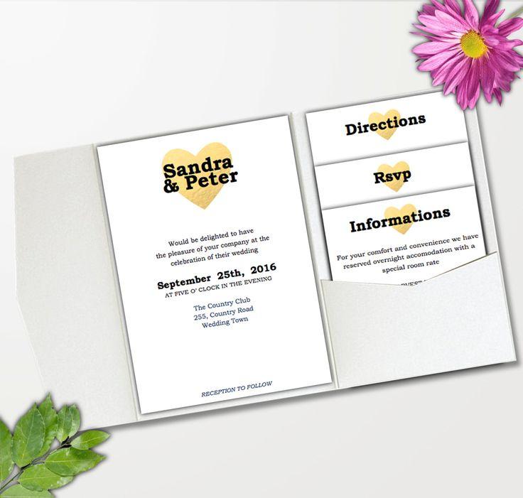 DIY Wedding pocket invitation template - INSTANT DOWNLOAD - editable text - Gold…