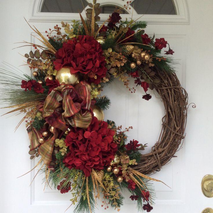 Christmas Wreath-Winter Wreath-Holiday Wreath-Holiday Hydrangea Wreath-Christmas Decor-Designer Wreath-Elegant Holiday Wreath-Luxury Wreath by ReginasGarden on Etsy https://www.etsy.com/listing/252298378/christmas-wreath-winter-wreath-holiday