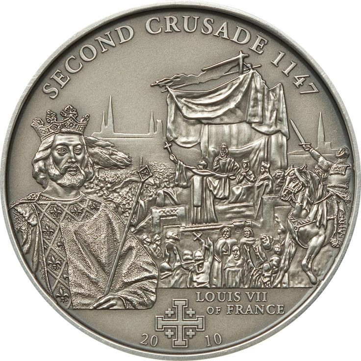 2010 Cook Islands 25 gr $5 silver coin - History of The Crusades: Second Crusade, Louis VII of France (antique finish).