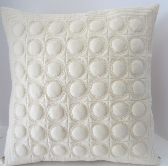 Quilted Pillow, Neutral Pillow, Quilted Pillow Cover, Decorator Pillow, Contemporary Pillow, Quilted Circles Pillow, Quilted Toss Pillow