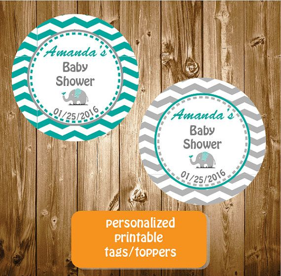 Personalized Elephant Baby Shower Stickers by RedRedRoseHandmade