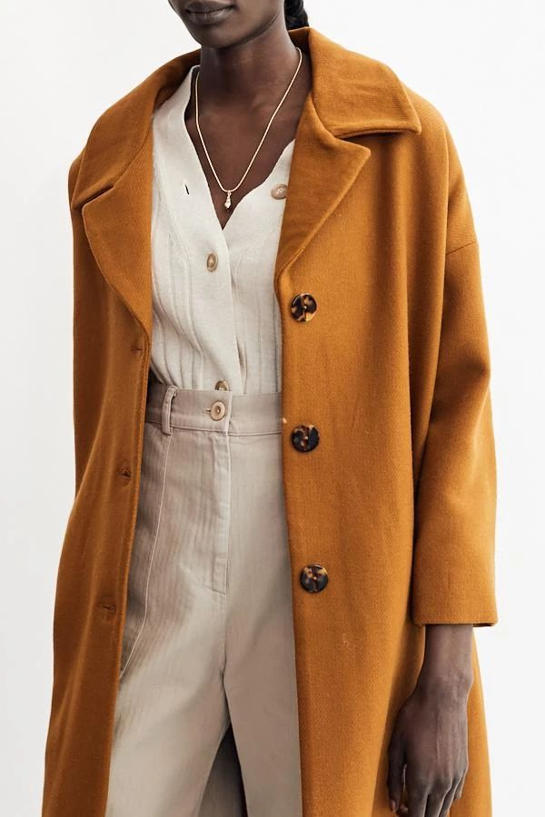 Ella Coat / Ocher | Coat, Coat outfits, Oversized coat