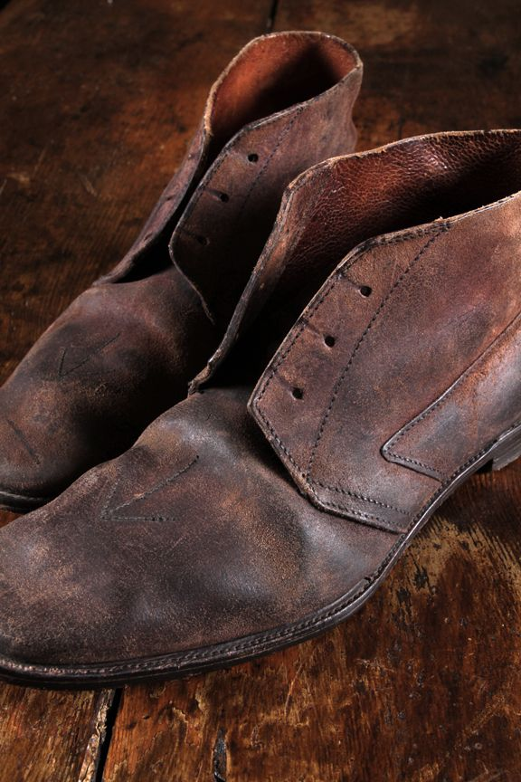 Those distressed Italian leather shoes... I love weathered leather...... Couch, chairs, purse, shoes, boots, because there is a history there.  K.W.