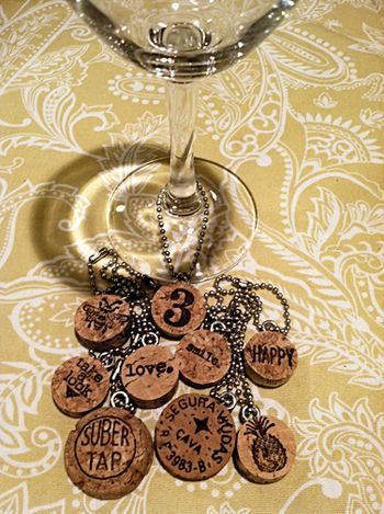 Wine glass charms made from wine corks - made these yesterday with my friend @Karen Jacot Piotrowski after she saw a similar idea on Pinterest.   Great Christmas gifts!