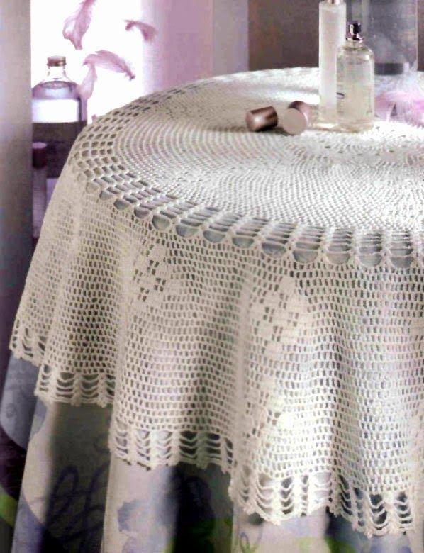 tejidos artesanales en crochet: mantel redondo reflejos cristalinos