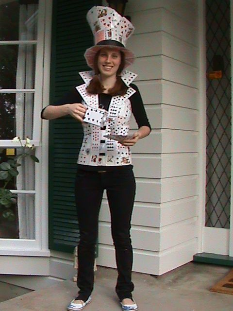 DIY Mad Hatter - Vest, Hat, Teapot and Teacup made entirely from Playing Cards and staples - took 1 month to mould both.