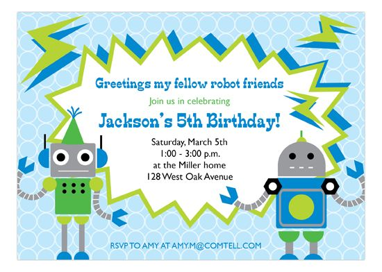 Do you have a little girl or boy who is into science fiction? Do you constantly catch them looking up at the stars, dreaming about what's up there? The Rowdy Robot Invitation by Peppermint Prints from Polka Dot Design is the right online birthday invitation for their next birthday celebration. The invite features two robots on the front of the card. (This would also work as a birthday card for twins or siblings!) The invite's personalized text comes crashing into view in a jagged thought…
