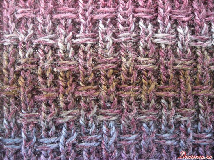 Схема узора для вязания на спицах с протяжкой петель