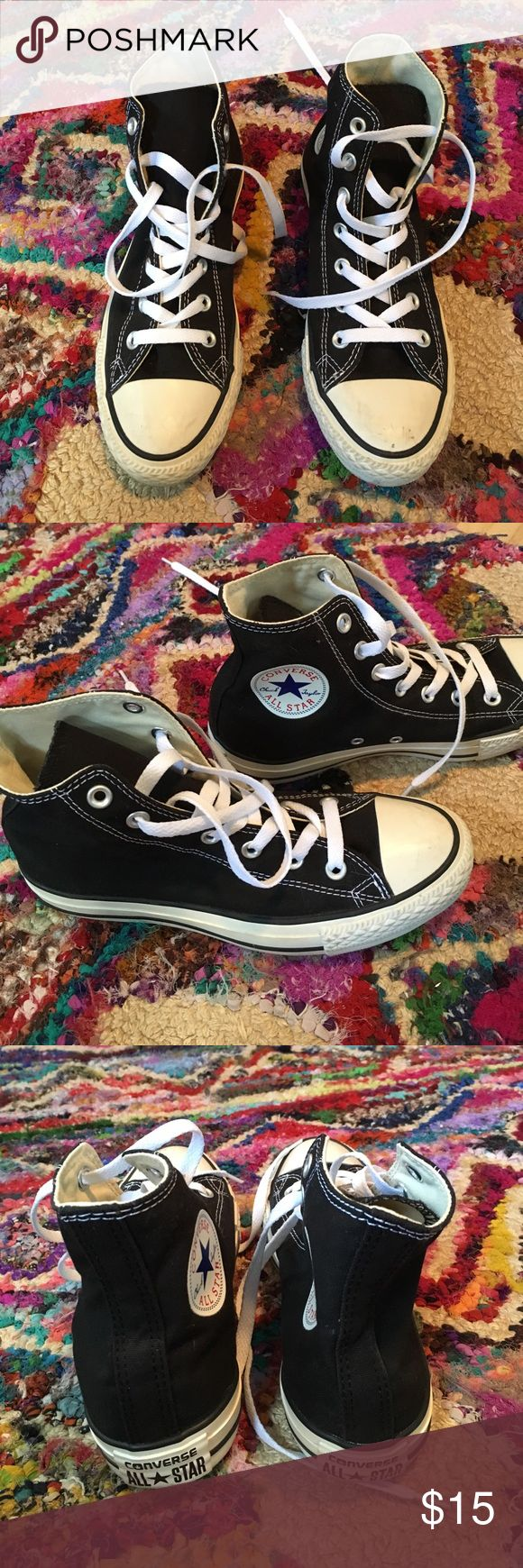 Black high top converse sneakers Only worn once before converse high top sneaker!!! Slight scuffing on toe but probably could get off!! In great condition Converse Shoes Sneakers