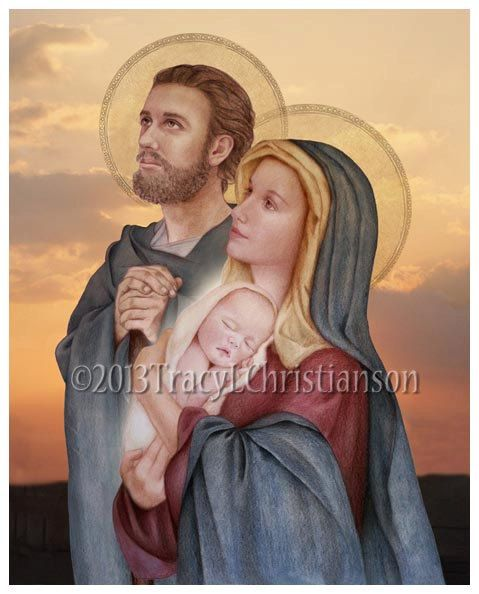 The Holy Family St. Joseph Virgin Mary and by PortraitsofSaints