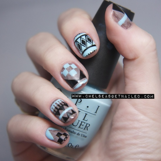 Abstract Aztec Nails.  I'm always attracted to this color combo