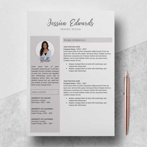 Modern Resume Template - Resume Template with Photo - Resume Instant