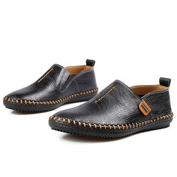 Casual Hand-made Breathable Soft Flat Oxfords For Men - US$45.53