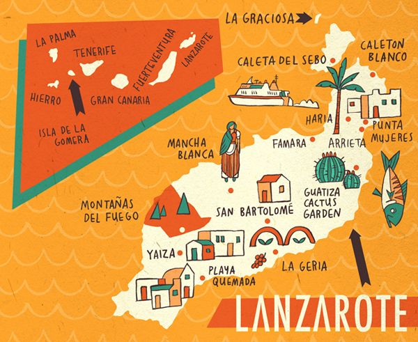 Bristol based freelance illustrator Own Davey mapped out a bunch of countries in this case Lanzarote (Spain).