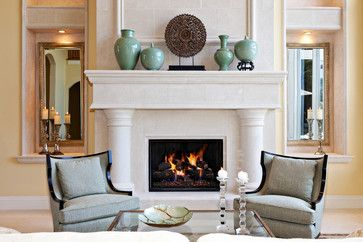 Vases and other sculpture add artful & eclectic look to a mantle  |  Andrea's Innovative Interiors - Andrea's Blog - Mantle Styling