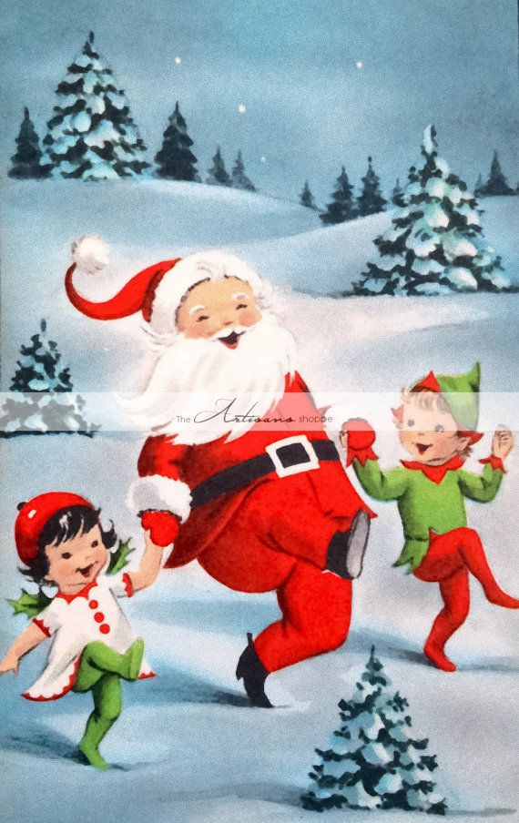 Santa Claus & Elves in Snow  Digital Download Printable Image